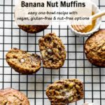 Pinterest image for Healthy Banana Nut Muffins.