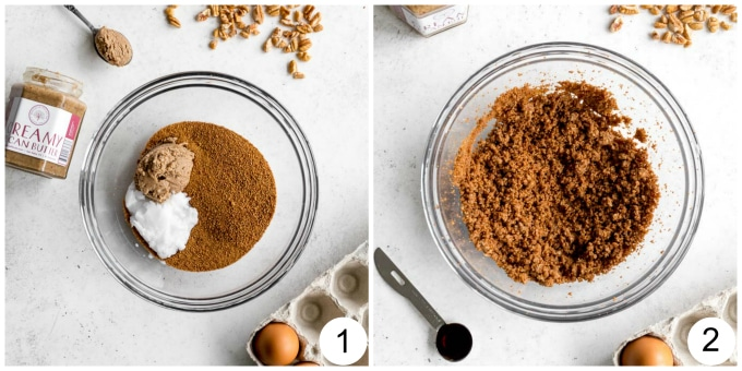 Process shots of the wet ingredients for the skillet cookie being mixed together.