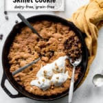 Pecan Chocolate Chip Skillet Cookie pin image.