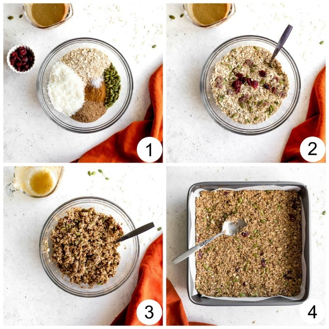 Collage of images demonstrating how the pumpkin spice granola bars are made.