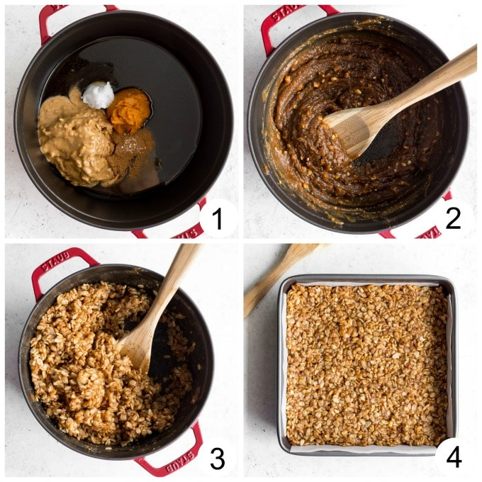 Collage of photos demonstrating how crispy treats with no marshmallows are made.