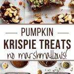 Pinterest image for Pumpkin Spice Rice Krispie Treats - long pin.