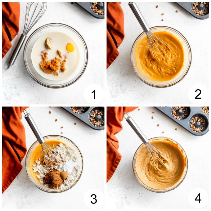 Collage of images demonstrating how the batter for the pumpkin donuts is mixed together.