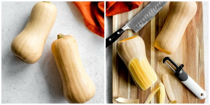 Two images of butternut squash on a work surface.