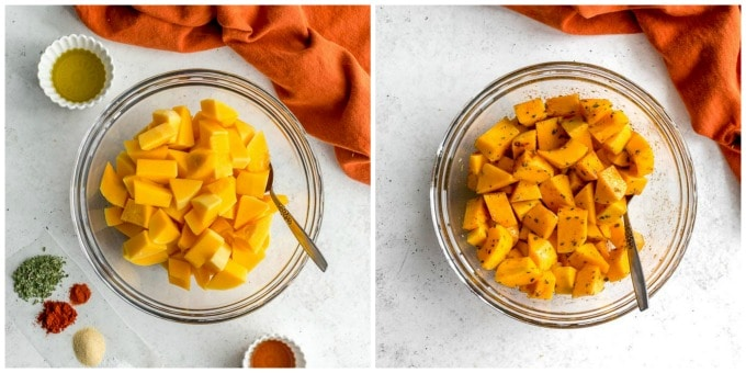 Two images of butternut squash cubes in a glass bowl.