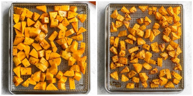 Two images of butternut squash cubes arranged in an air fryer basket.