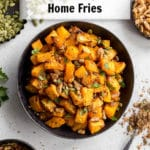 Pin image for Air Fryer Butternut Squash Home Fries.