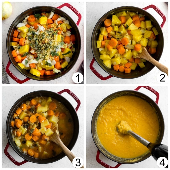 Collage of photos demonstrating how golden beet soup is made in one pot.