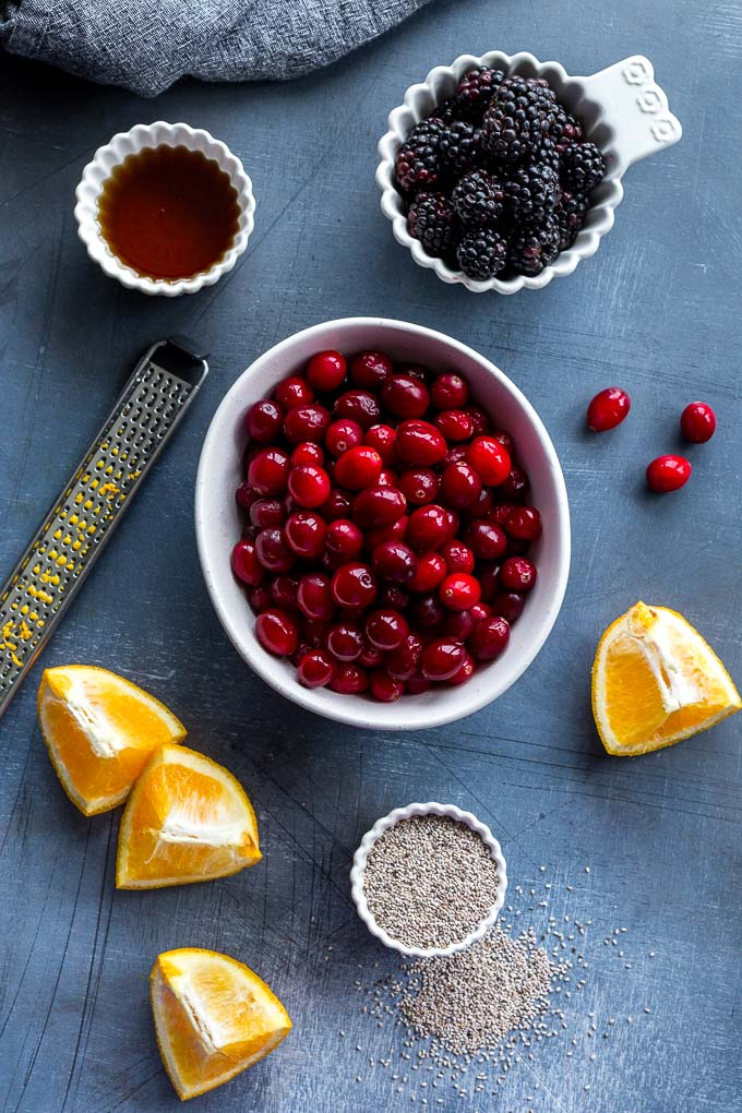 Overhead view of ingredients to make refined sugar-free cranberry sauce.