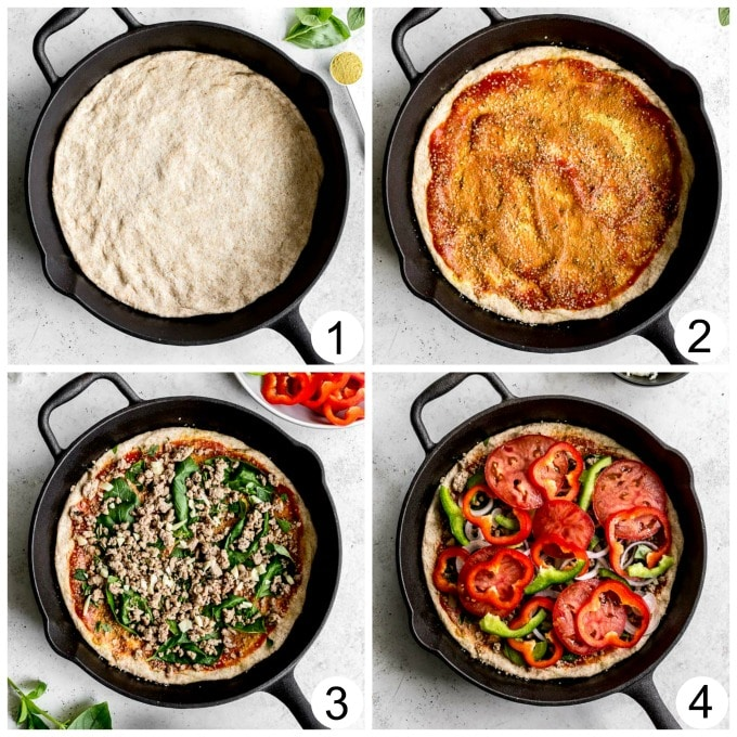 Collage of four photos demonstrating how Healthy Homemade Pizza is assembled in a cast iron skillet.