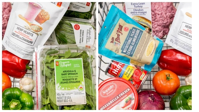 Photo collage of my grocery cart with ingredients to make Healthy Homemade Pizza.