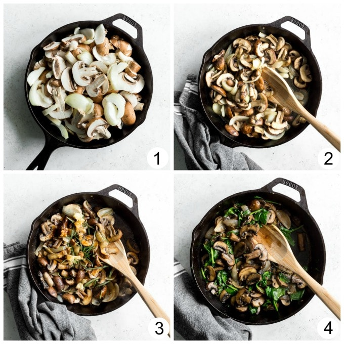 Collage of 4 photos demonstrating how the mushroom filling is made for the mushroom spinach dip.