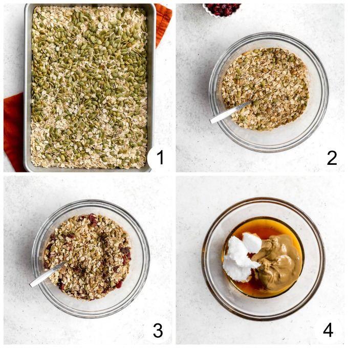 Collage of photos showing how the pumpkin spice granola mixture is made.