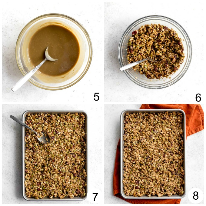 Collage of photos showing how the granola is mixed together and packed down on the baking sheet.