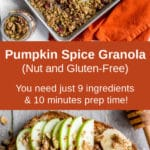 Pinterest image for Pumpkin Spice Granola - long pin.
