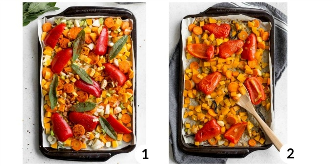 Two photos - one of chopped veggies and the other of roasted veggies - on a baking sheet.