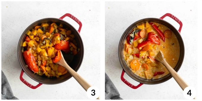 Two photos of roasted veggies in a pot, one photo includes broth and coconut milk.