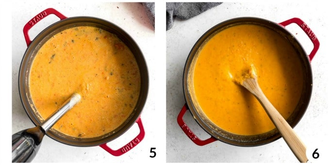 Two photos of butternut squash soup pureed in a pot.