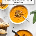 Pinterest image for Dairy-Free Roasted Red Pepper and Butternut Squash Soup.