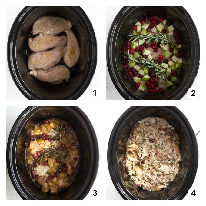 Collage of 4 photos demonstrating how the chicken is assembled and slow cooked in the crockpot.