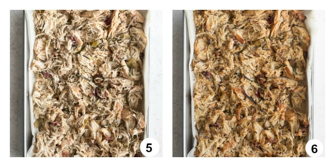 Two photos of shredded chicken on a baking sheet before and after broiling.