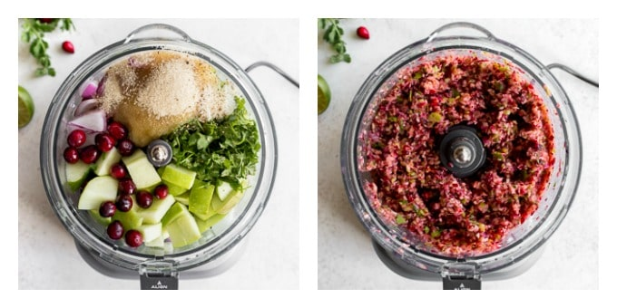 Two photos of cranberry salsa being made in a food processor.