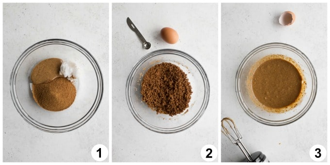 Collage of 3 photos showing how the wet ingredients are blended together.
