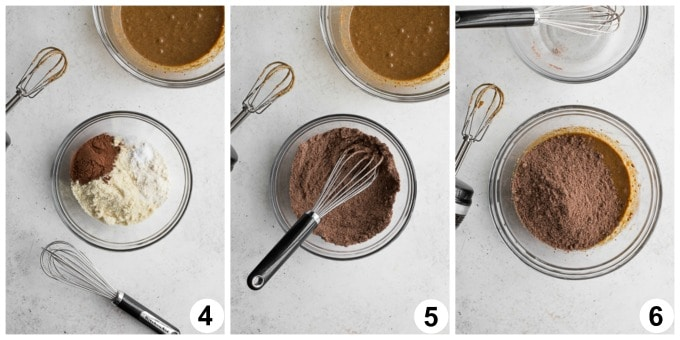 Collage of 3 photos showing how the dry ingredients are whisked together.