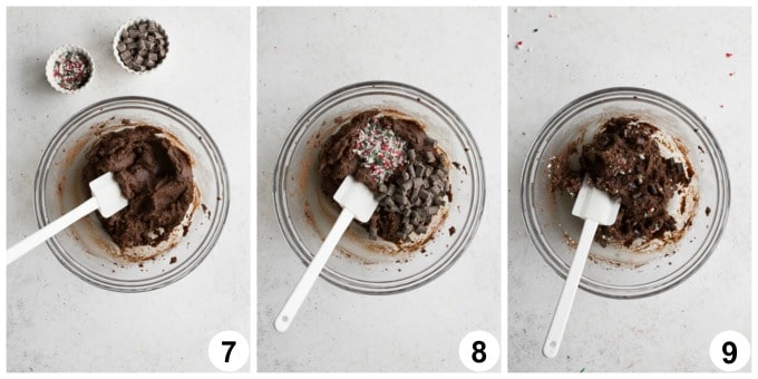 Collage of 3 photos showing how the cookie batter is mixed together with crushed candy canes and dark chocolate.