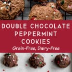 Pinterest image for Double Chocolate Peppermint Cookies - long pin 1.