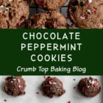 Pinterest image for Double Chocolate Peppermint Cookies - long pin 3.