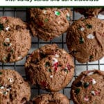 Pinterest image for Double Chocolate Peppermint Cookies - short pin.
