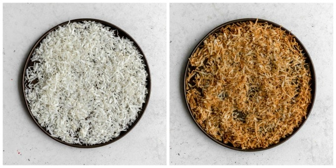 Two images showing how coconut is toasted.
