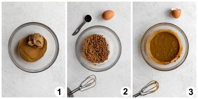 Collage of 3 images showing how the wet cookie ingredients are mixed together.
