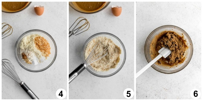 Collage of 3 images showing how the dry ingredients are whisked together and cookie batter is formed.