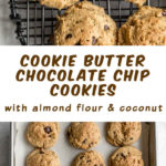 Pinterest image for Cookie Butter Chocolate Chip Cookies - long pin 2.