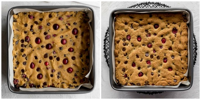 Collage of two images, one showing the cookie dough spread out in a square pan and the other showing the cookies baked and cooling.