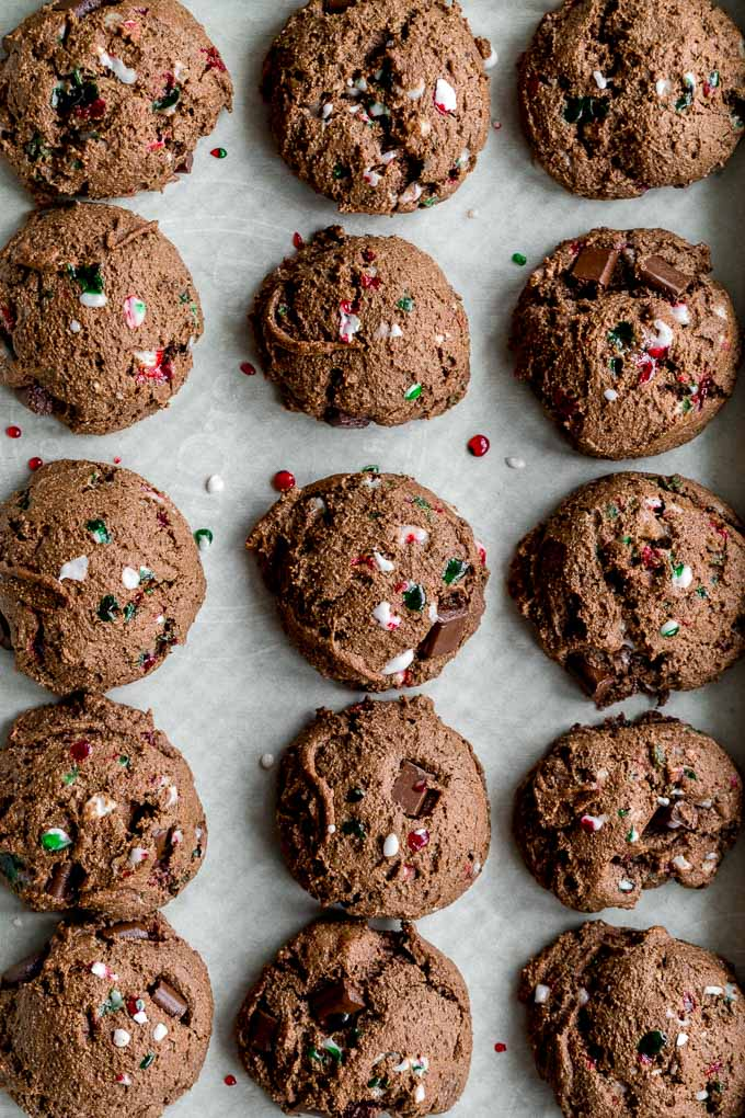 Double Chocolate Peppermint Cookies baked up on a cookie sheet.