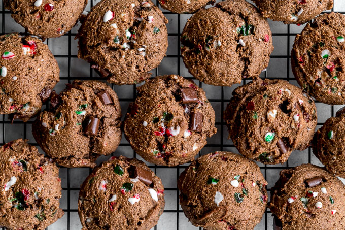 Double Chocolate Peppermint Cookies arranged on a cooling rack.