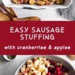 Pinterest image for Easy Sausage Stuffing - long pin 1.