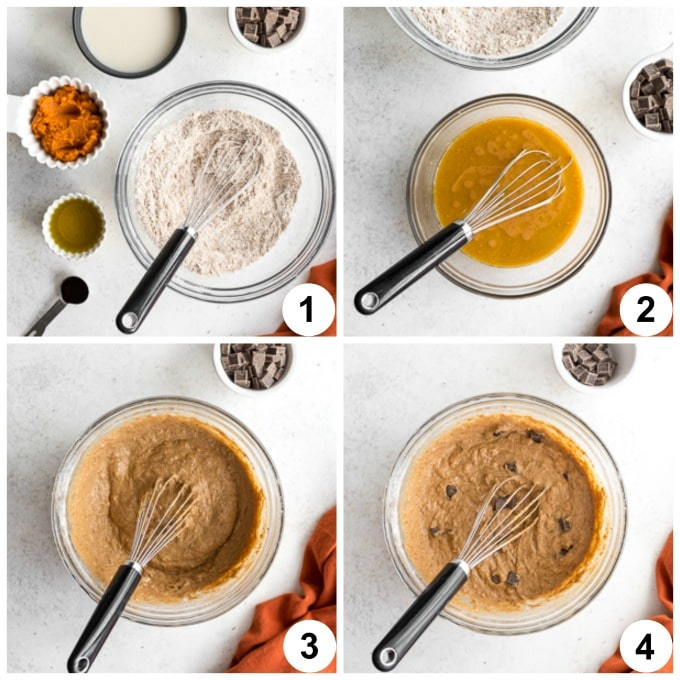 Collage of 4 photos demonstrating how the pumpkin bread batter comes together.