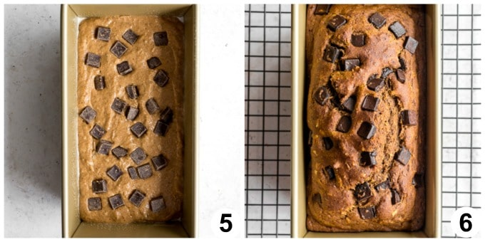 Collage of two photos - pumpkin bread batter in loaf pan and pumpkin bread baked up in loaf pan.