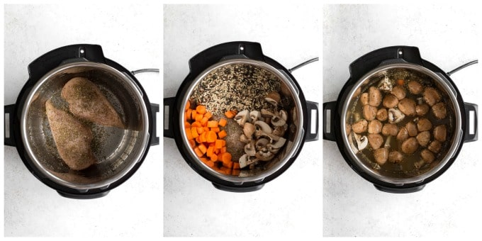 Collage of three photos demonstrating how the chicken and wild rice soup ingredients are assembled in the Instant Pot.