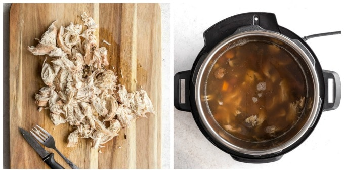 Collage of two photos - one of shredded chicken on a cutting board and the other of soup in the Instant Pot.