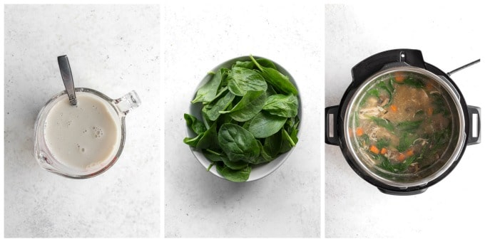 Collage of three photos - one of the tapioca flour/milk mixture, another of a bowl of spinach and the last of the finished soup in the Instant Pot.