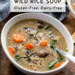 Pinterest image for Instant Pot Chicken and Wild Rice Soup.