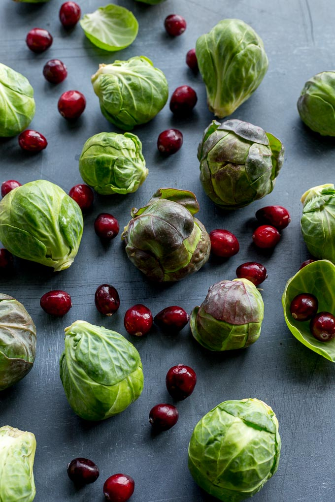 Up-close view of raw Brussels sprouts and cranberries on a dark surface.