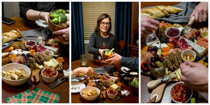 Collage of three photos showing the cheese board being enjoyed by friends.