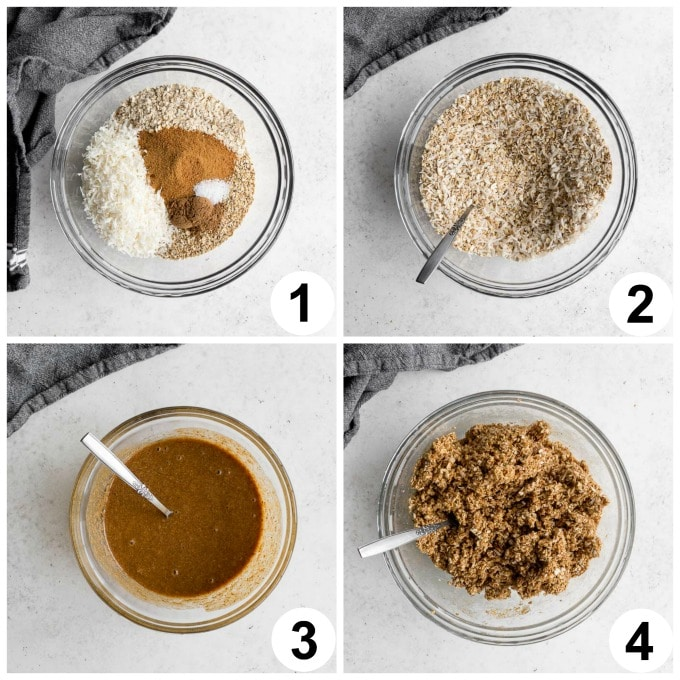 Collage of 4 images demonstrating how the oat mixture for the oatmeal bars comes together.
