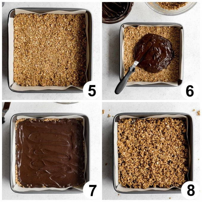 Collage of 4 images demonstrating how the oat bars are assembled.
